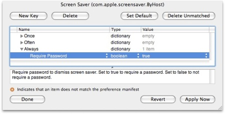 Screen Saver ByHost preferences