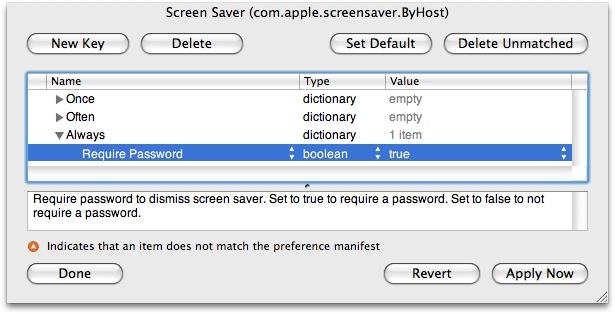 Screen Saver ByHost preferences